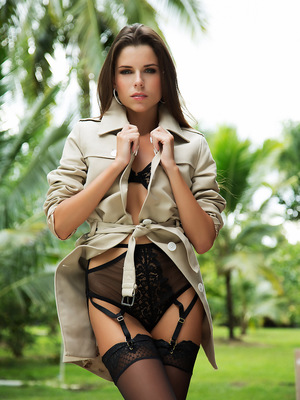 Aleksa Slusarchi outdoors enjoying the weather and taking off her black lingerie.